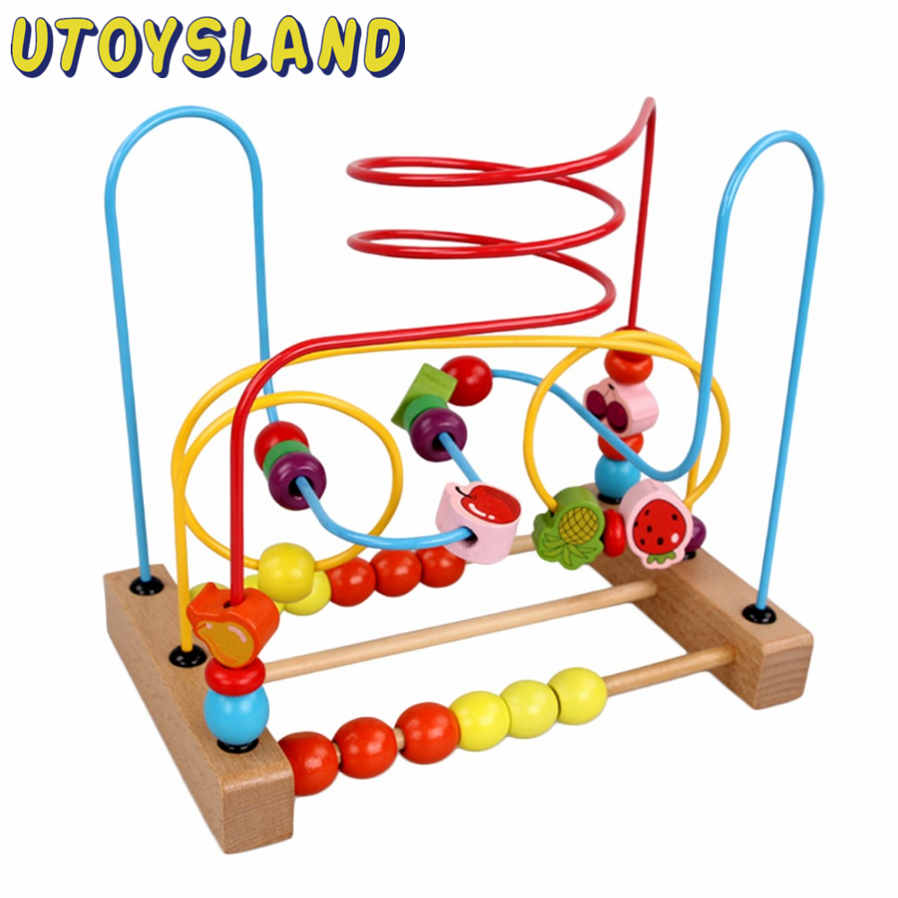UTOYSLAND Free shipping Counting Fruit Bead Wire Maze Roller Coaster Wooden early Educational Toy for Baby