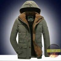 -30 度 AFS ジープ冬パーカー男性 veste オム-厚みの熱フリースの男性のジャケット冬の雪のコート男性ウインドブレーカー 6XL