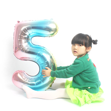KAMMIZAD 32inch number blue Gradient Big balloons birthday party decorations 0-9 colorful digital balloon graduation 2019