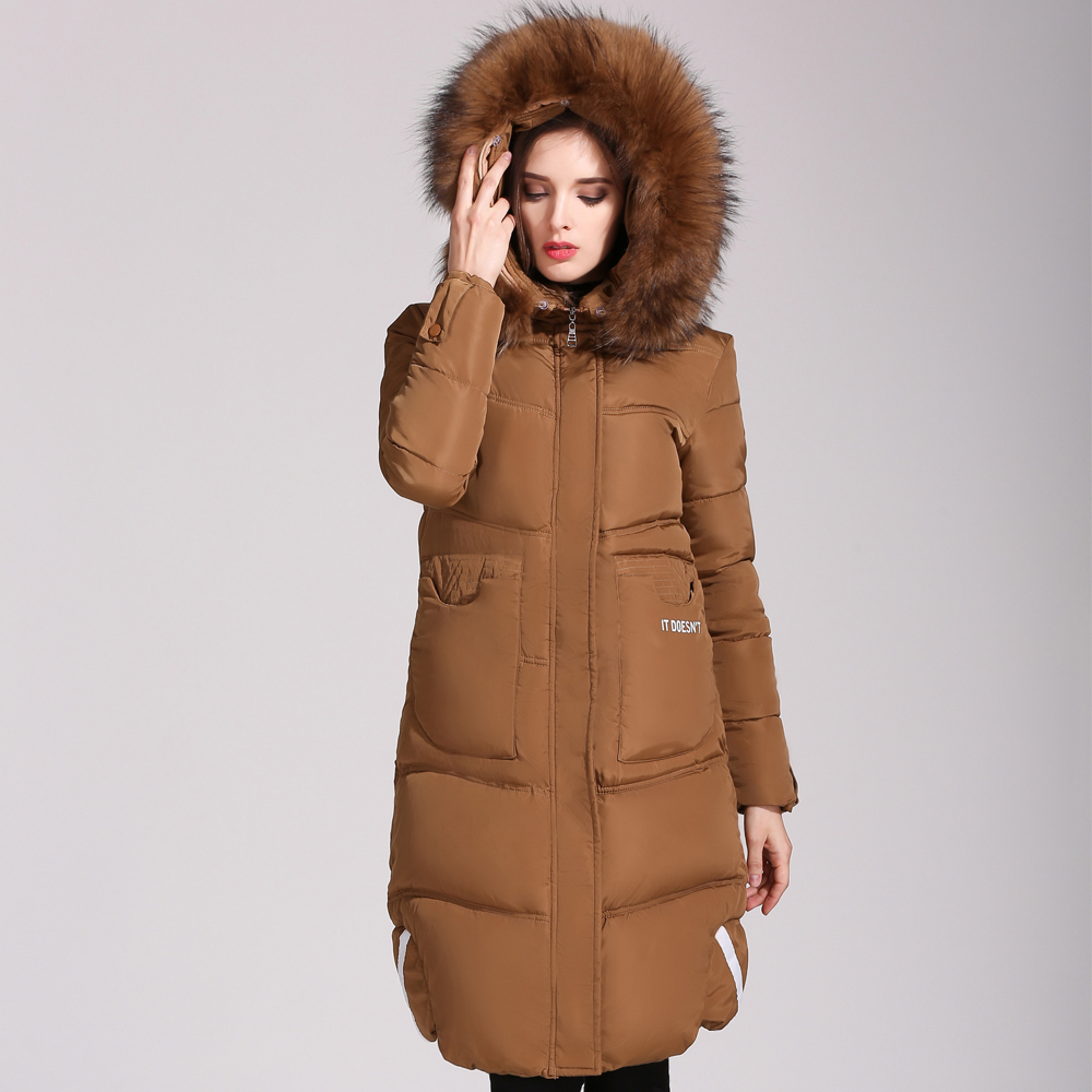 Warm Women Parkas Plus Size Large Fur Collar Female Overcoat 2017 New Hooded Letters Women Winter Coat Snow Wear BL11-A women winter coat leisure big yards hooded fur collar jacket thick warm cotton parkas new style female students overcoat ok238