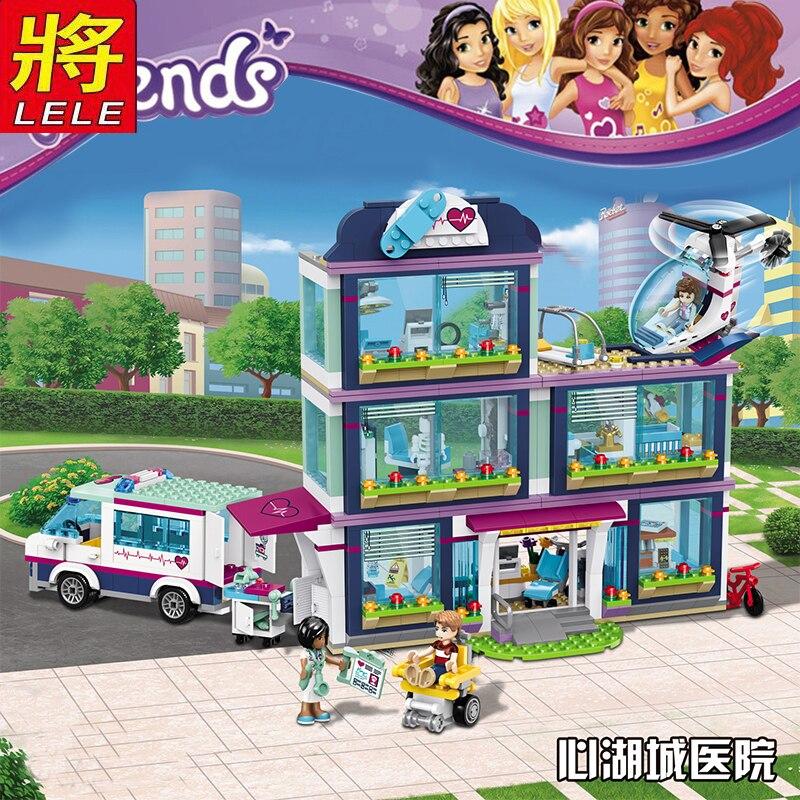 LELE 932 pièces Heartlake Ville Parc Amour L'hôpital Fille Amis Building Block Compatible Avec Légèreté amis jouet de construction