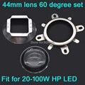 1 Conjunto de 44mm Lente De Vidro LEVOU 60 Ângulo de Feixe Grau + 50mm Refletor colimador + Suporte Fixo para 20 W 30 W 50 W 100 W LED de Alta Potência