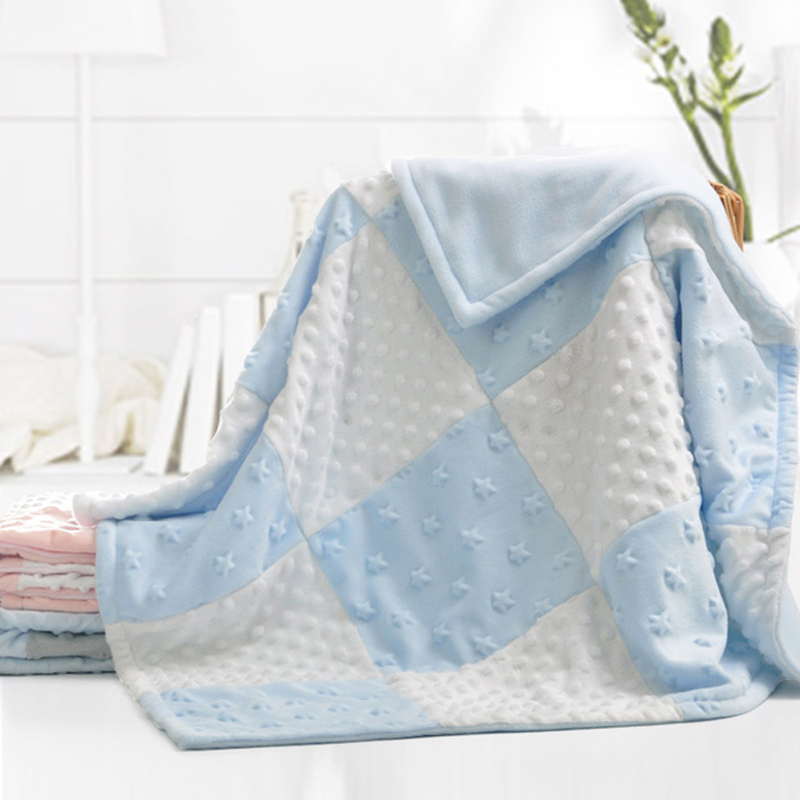 Minky Polar Fleece Baby Blanket Pink Minky Dot Baby Blankets Double Layer Newborn Baby Thick Warm Blanket Swaddle Wrap Blanket zhh warm soft fleece strip blankets double layer thick plush throw on sofa bed plane plaids solid bedspreads home textile 1pc