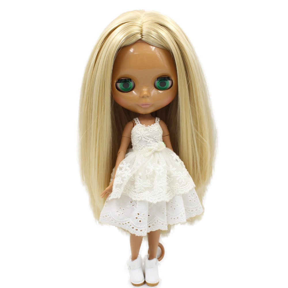 ICY Nude Blyth doll No 538 Blonde hair without bangs JOINT body Chocolate skin Factory Blyth