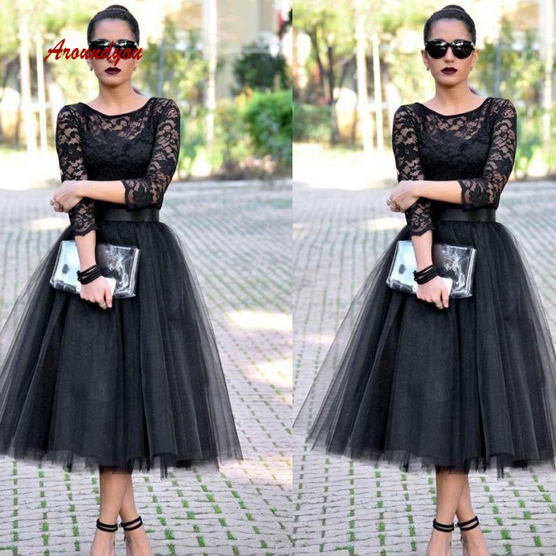 Sexy Black Long Sleeve Cocktail Dresses Evening Plus Size Tea Length Homecoming Semi Formal Graduation Prom Party Dresses