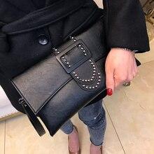 Fashion Rivet Women Luxury Clutches Designer Over Handbag PU Leather Messenger Bag For Women Shoulder Bag Lady Bag Clutch цены