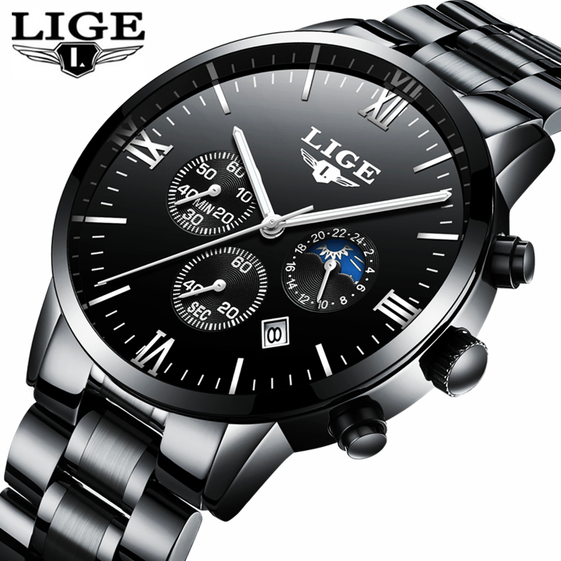 LIGE Watch Men Fashion Sports Quartz Clock Men's Watches Top Brand Luxury Full Steel Business Waterproof Watch Relogio Masculino men fashion quartz watch mans full steel sports watches top brand luxury cuena relogio masculino wristwatches 6801g clock