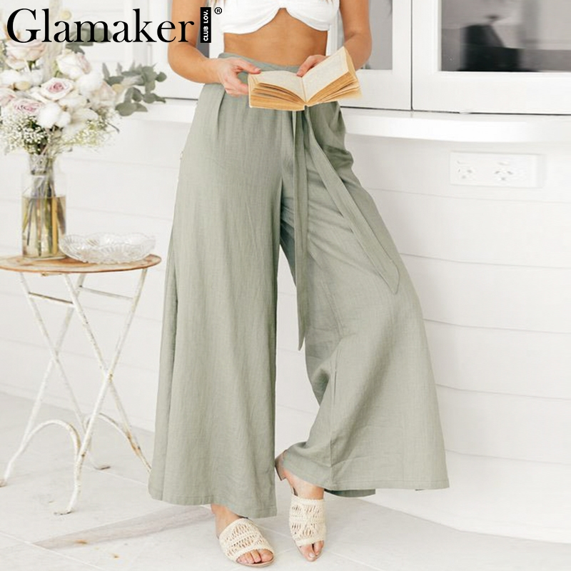 Glamaker Vintage side split   wide     leg     pants   women lace up belt casual   pants   loose trousers summer female high waist khaki bottoms