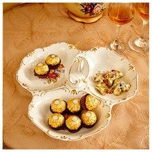 Assiette de fruits en céramique monocouche | Céramique de noël salon créatif Dim sum européen assiette de fruits secs multicouche assiette de bonbons et de Snack