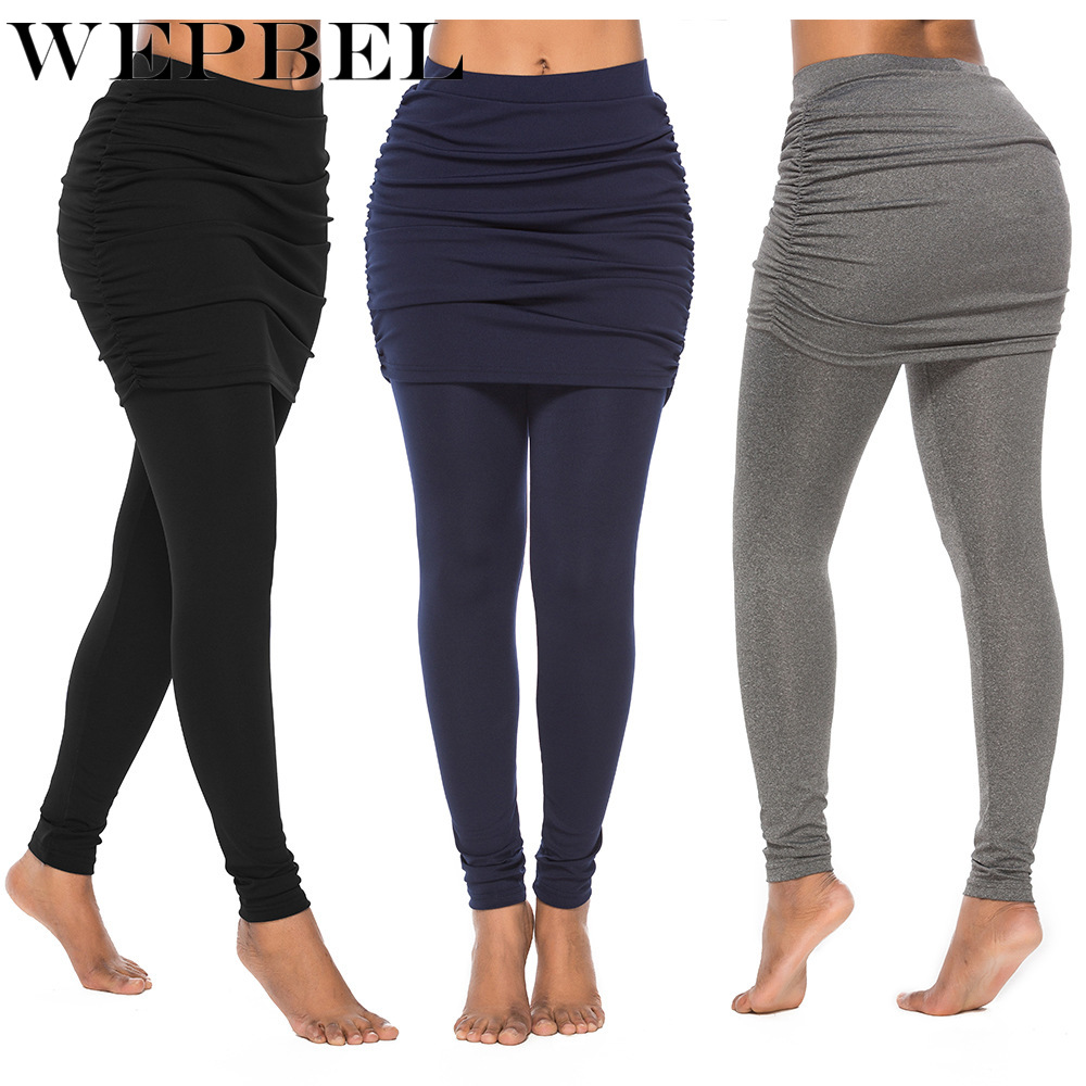 WEPBEL Hot Sale Women Bandage Leggings Sport Mini Skirt Leggings Elastic Jogger Legging Pants