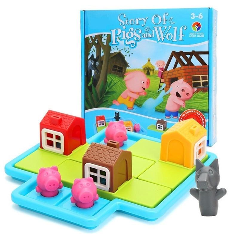 Child Smart Hide&Seek Board Games Three Little Piggies 48 Challenge With Solution Games IQ Training Toys For Children Oyuncak