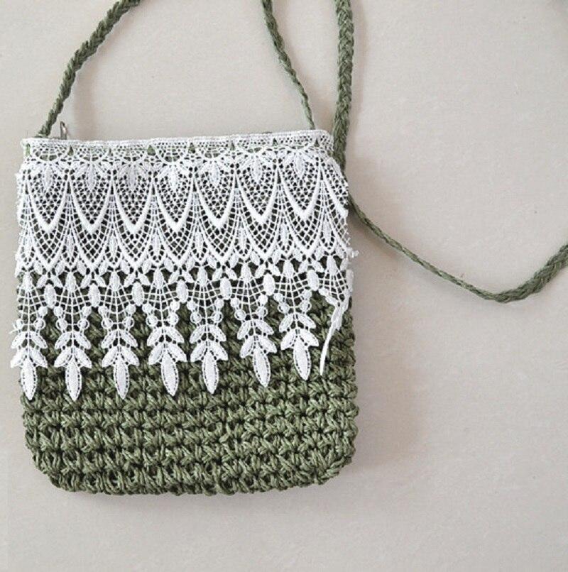 6ac7422c6d9c Трава бумаги ткань кружева кошельки для монет детей кошельки летние пляжные  сумки через плечо женский BOLSOS Mujeres Bolsas feminina для девочек