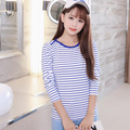 Ms. new winter round neck black and white striped long-sleeved shirt female long-sleeved t-shirt cotton do281