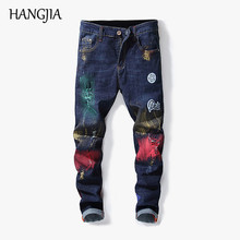цена на Men's Skinny Jeans Streetwear Hip-hop Graffiti Slim Fit Ripped Jogger Jeans High Quality Stretch Straight Hole Men Jean Pants