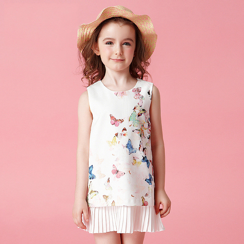 Summer Cute Butterfly Girls Dress Sleeveless Tanks For Little Sisters Chiffon Ruffle Clothes Age2345678 9 10 12 13 14Years Old defender butterfly 13 14 1