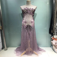 Beautiful flower french lace nigerian wedding dress fabric wholesale african tulle net laces fabrics dubai for party X112 2