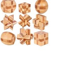 LeadingStar 9pcs Set Educational Bamboo 3D Kong Ming Lock Brain Teaser Burr Puzzle Toys Xmas Gifts