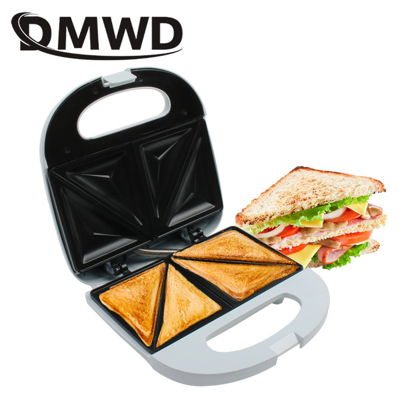 DMWD Electric Sandwich Maker Household MINI Bread Baking Pan Non-Stick Toast Grill Waffle Machine Muffin Pancakes Baker EU plug image