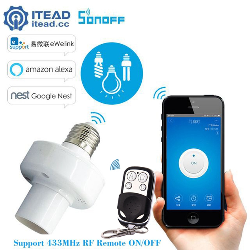 Sonoff Slampher E27 WiFi Light Holder RF 433MHz Wireless WiFi Switch Smart Home pro Alexa Google Home App Remote Control