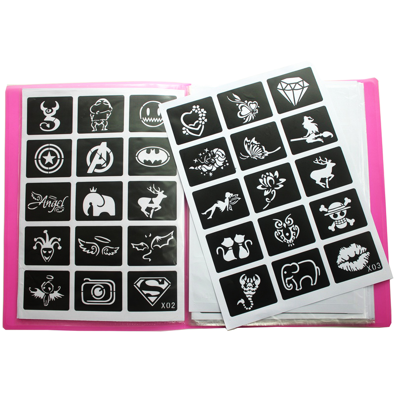 446pcs/Lot Reusable Sticker Tattoo Stencils Folder,Painting Template Airbrush Glitter Henna Tattoo Stencil Set Album Fixed Style