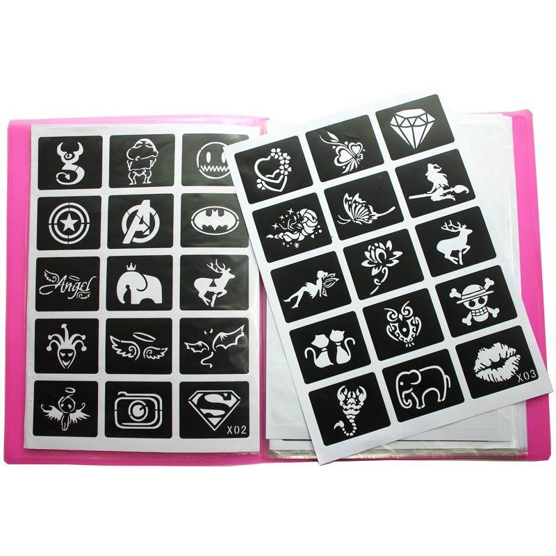 446st / Lot återanvändbar klistermärke Tattoo Stencils Folder, - Tatuering och kroppskonst - Foto 1