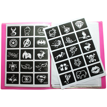 446pcs/Lot Reusable Sticker Tattoo Stencils Folder,Painting Template Airbrush Glitter Henna Tattoo Stencil Set Album Fixed Style 75 designs temporary airbrush tattoo stencil book airbrush stencils template booklet book 20