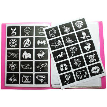 446pcs/Lot Reusable Sticker Tattoo Stencils Folder,Painting Template Airbrush Glitter Henna Tattoo Stencil Set Album Fixed Style - DISCOUNT ITEM  40% OFF All Category