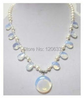 lady's gift moonstone STONE white pearl pendant necklace Solid hook wholesale shipping Free