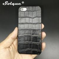 Solque Réel Véritable Étui En Cuir Pour iPhone 5 5S SE 5SE cellulaire Téléphone De Luxe Mince Hard Shell Couverture de Cas 3D Crocodile conception