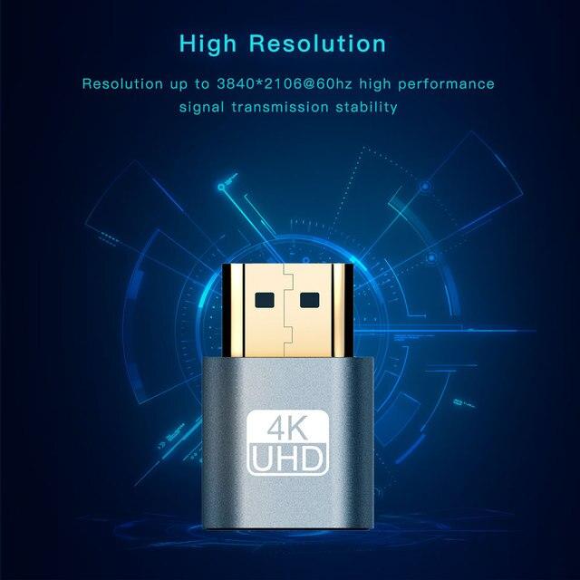 Adaptateur daffichage virtuel HDMI plaqué or HDMI DDC EDID prise factice sans tête fantôme affichage émulateur plaque de verrouillage jusquà 4K 3840*2160