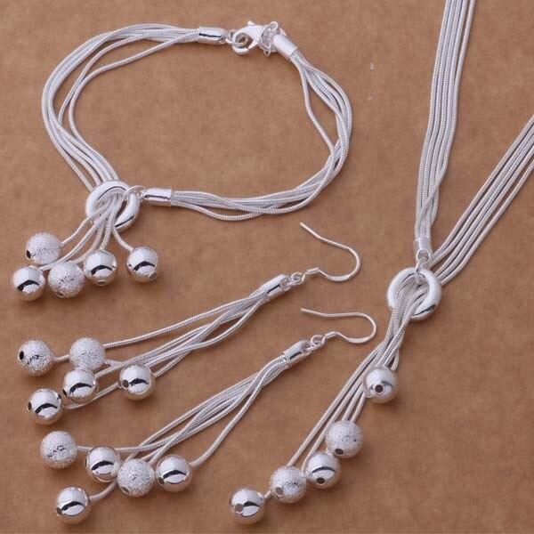 AS271 Hot 925 sterling silver Jewelry Sets Bracelet 011 + Necklace 494 + Earring