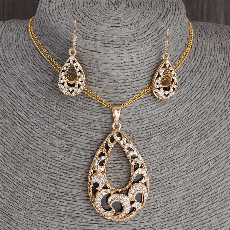 Fashion waterdrop design pendant jewelry set golden plated chain fashion waterdrop design pendant jewelry set golden plated chain necklace earring womens luxury wedding jewelry in jewelry sets from jewelry accessories aloadofball Images