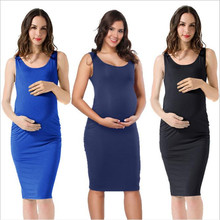 2019 hot sale maternity dress woman solid color sleeveless sexy wrap skirt pregnancy side fold vest