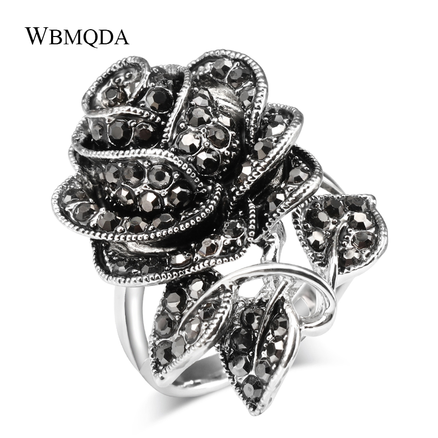 2018 Hot Vintage Luxury Rose Flower Black Crystal Rings For Women Antique Silver Color Engagement Love Ring Party Jewelry Gifts