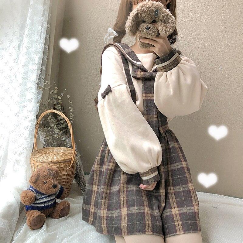 Spring 2019 Women's Japanese Sweet Student Sweater+High Waist Plaid Skirt+Casual Bib Fashion Preppy Style Set