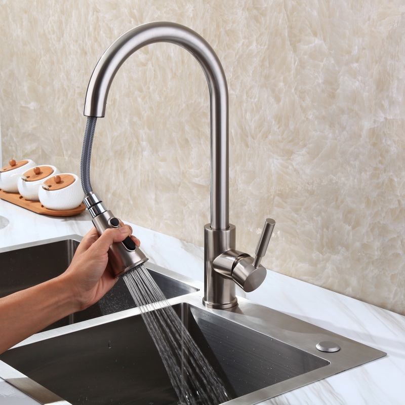 pull out kitchen sink faucet hot and cold mixer water all copper rotary washing vegetable pool pulling trough faucet pull the kitchen faucet hot and cold all copper single handle double control rotary groove faucet faucet ceramic spool lu50511