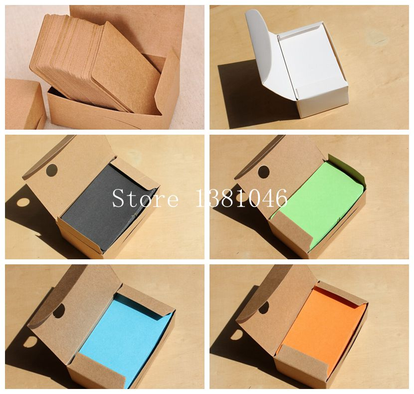 100/Pack Blank Kraft Cardstock Thick Paper Business Card Gift Tags ...