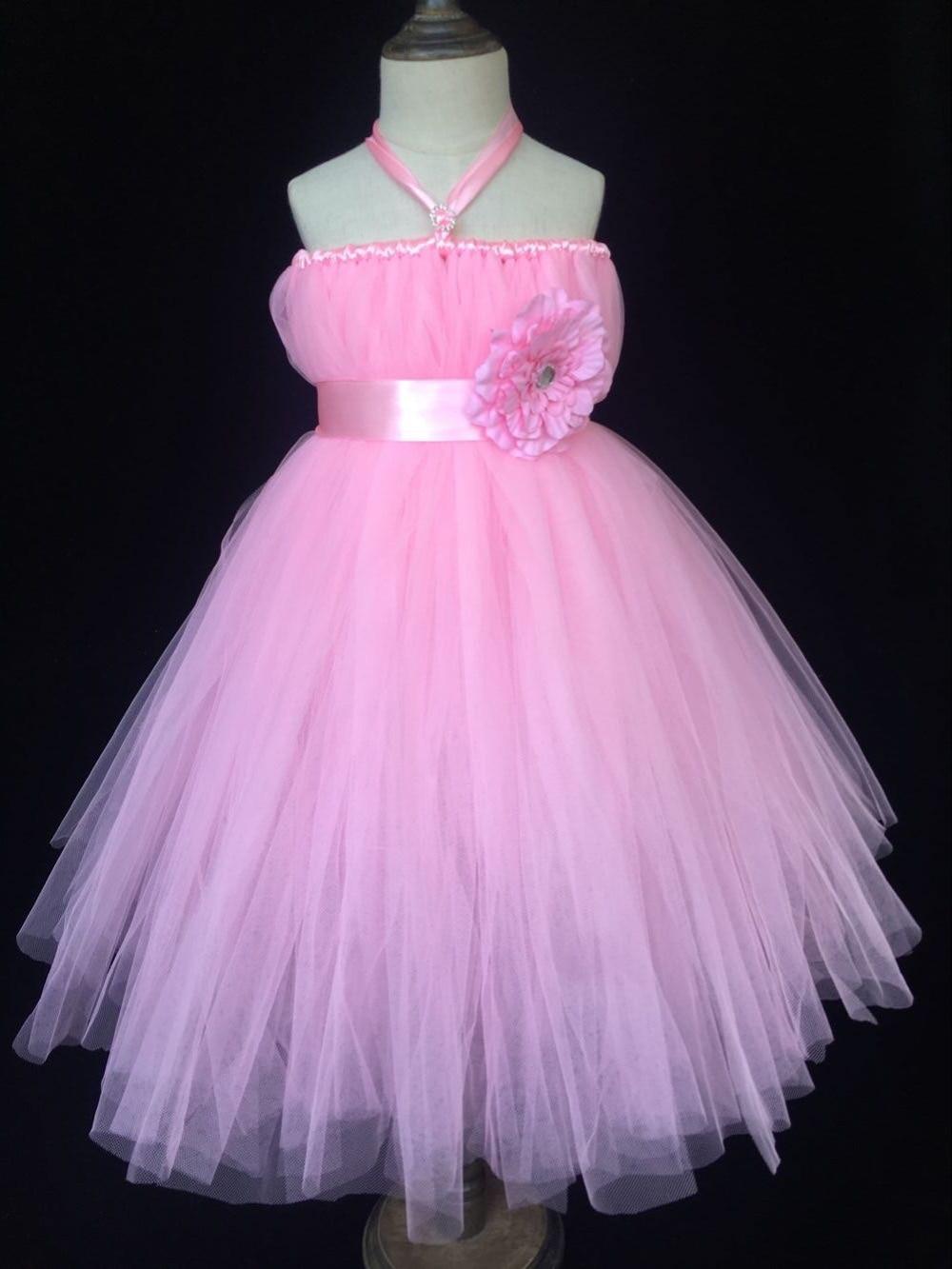 Cute Girls Pink Long Tutu Dress Kids Fluffy Tulle Dress Ball Gown with Flower Ribbon Bow Headband Children Wedding Party Dress