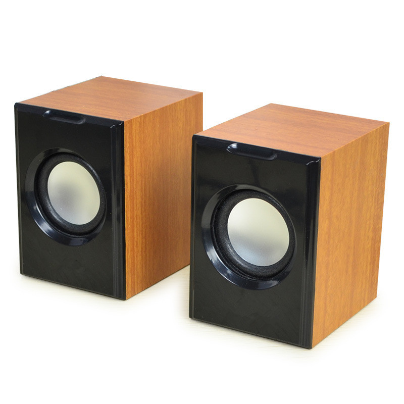 Wood Creative Mini Subwoofer Wired Stereo Small Computer/PC/Phone Double Speakers With USB 2.0 With 3.5mm Interface Lound Sound