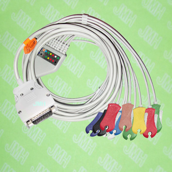 Use for 15 PIN Mortara Instrument ELI100,ELI200 EKG MONITOR Machine,One-piece 10 LEAD ECG cable and CLIP leadwires,IEC or AHA. image