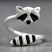 Creative Silver Color Raccoon Female Ring Cute Animal Opening Rings For Women Party Adjustable Jewelry(China)