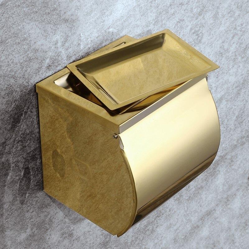 Or de luxe plaqué Salle De Bains porte papier toilette Rouleau de papier Tissue box avec Couvercle en acier inoxydable Salle De Bains matériel accessoires