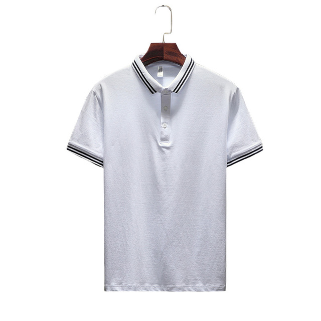 1b3af0c485e1 Solid Color Polo Shirt Men Classic Spliced Polo Shirts Man Short Sleeve Turn -Down Collar Designer Shirts Gray White Black Blue
