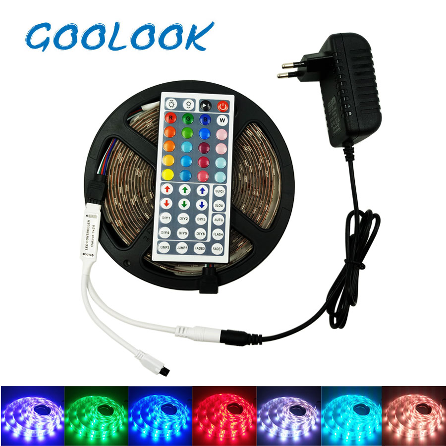 Goolook LED Strip Light RGB 5050 SMD Flexible Ribbon RGB led strip 5M 10M 15M led tape diode DC 12V+Remote Control+Power Adapter 10m 5m 3528 5050 rgb led strip light non waterproof led light 10m flexible rgb diode led tape set remote control power adapter