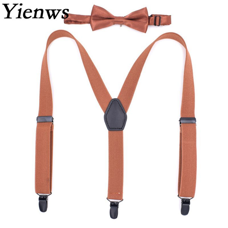 Yienws Solid Color Bow Tie Suspenders for Boys Babys 3 Clip Pant Bowtie Braces Children Girls Wedding 50 Pieces YiA088