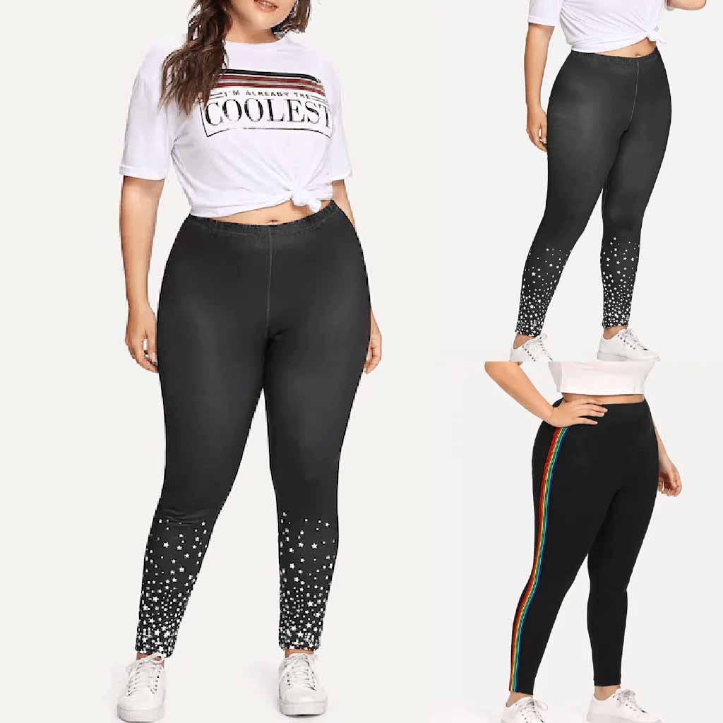 2019 HOT NEW Pants Women Plus Size 5XL Casual Printed Elastic Fitness Sports Leggings Athletic High Waist Pants Dropship брюки