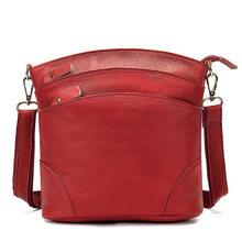 Bolsa de ombro de couro genuíno feminina, pequena bolsa de mão feita em couro com alça carteiro