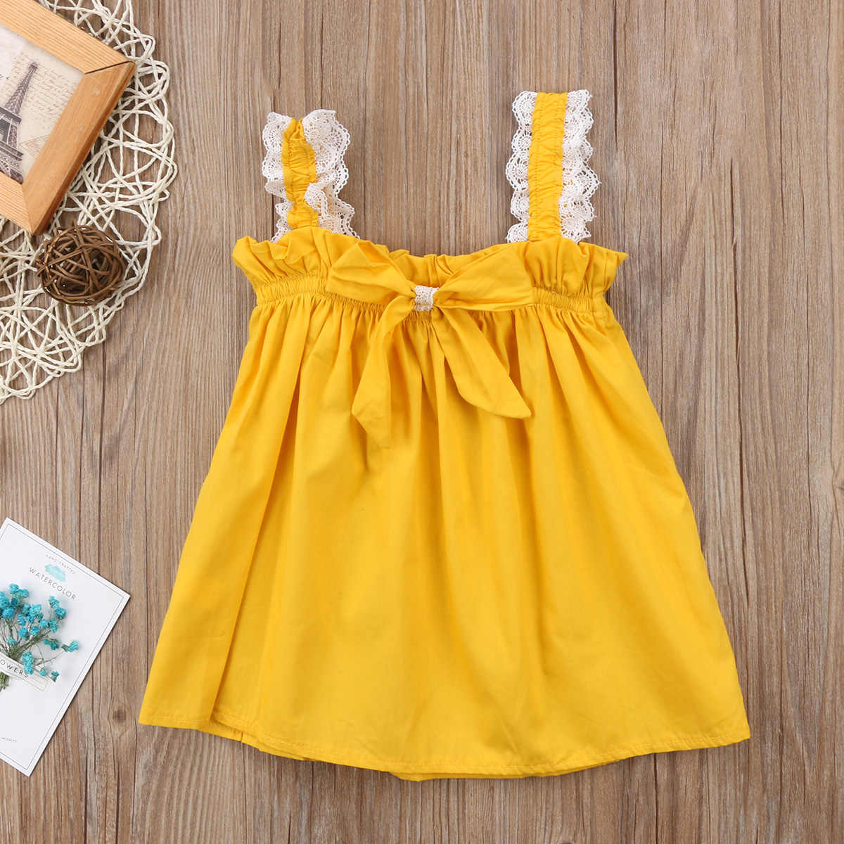 ... Newborn Kid Infant Baby Girls Yellow Lace Sleeveless Dress Ruffles Bow  Party Dresses Casual Sundress Clothes da3e3589738f