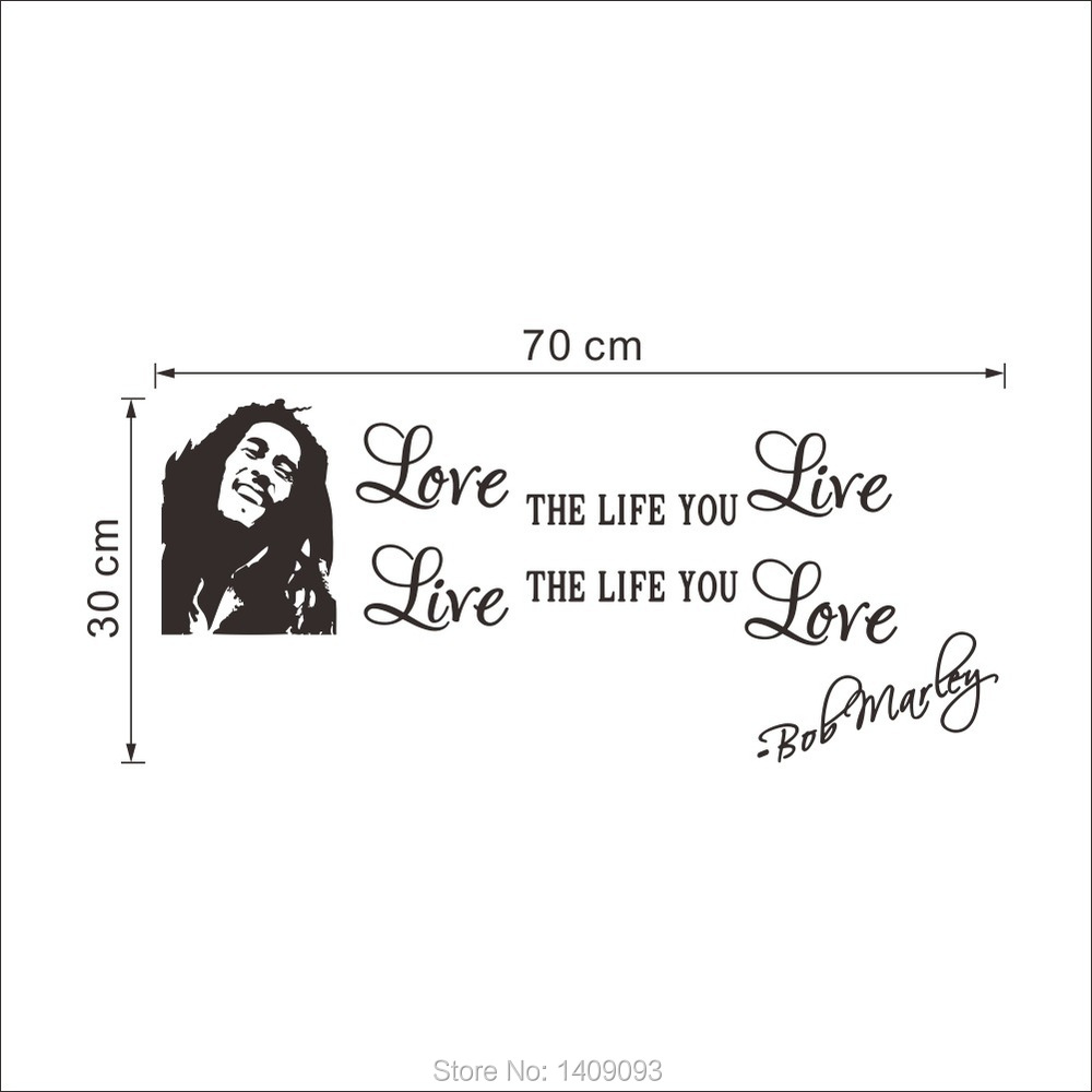 New Vinyl Quotes Wall Sticker Love Life Bob Marley Sayings Removable Waterproof 70 30CM Murals Wall Art Home Decor in Wall Stickers from Home & Garden on