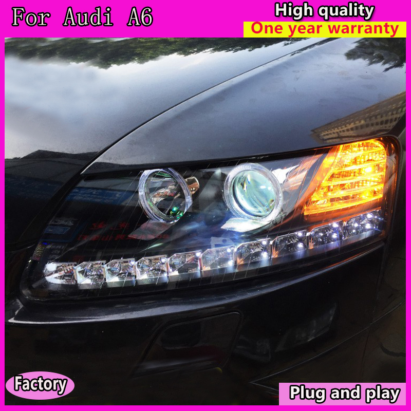 Car Styling for Audi A6 C5 Headlights 2005 2012 A6 LED Headlight DRL Lens Double Beam H7 HID Xenon bi xenon lens